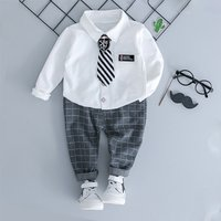 Gentleman Look Long-sleeve Shirt and Plaid Pants Set for Toddler Boy