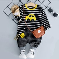2-piece Cute Car Applique Striped Top and Plaid Pants Set for Baby