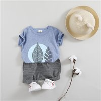 Toddler's Cool Leaves Print Top and Striped Shorts Set