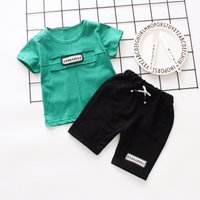 Trendy Short-sleeve Letter Tee and Shorts Set for Toddlers