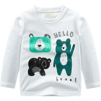 Toddler Boy's Hello Bear Print Long-sleeve Top in White