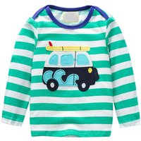 Trendy Car Appliqued Striped Long-sleeve Top for Baby Boy