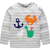 Stylish Animal Appliqued Striped Long-sleeve Tee for Toddler Boy and Boy