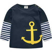 Faux-2 Trendy Anchor Print Long-sleeve Top for Toddler Boy and Boy