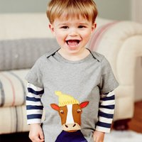 Trendy Striped Appliqued Long-sleeve T-shirt for Toddler Boy and Boy