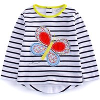 Trendy Striped Applique Butterfly Long-sleeve Tee for Toddler Girl and Girl