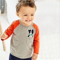 Casual Embroidered Dog Long-sleeve T-shirt for Toddler Boy and Boy