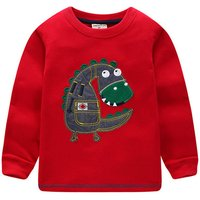 Cute Dino Applique Long-sleeve Top for Baby Boy and Boy