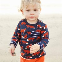 Casual Fox Patterned Long-sleeve T-shirt for Toddler Boy and Boy