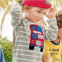 Casual Bus Appliqued Striped Long-sleeve Top in Grey for Toddler Boy and Boy