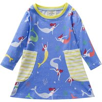 Trendy mermaid Pattern Striped Pocket Long-sleeve Dress for Toddler Girl and Girl