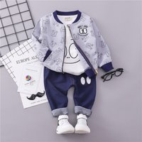 3-piece Casual Long-sleeve Top, Eyes Patterned Jacket and Pants Set for Baby