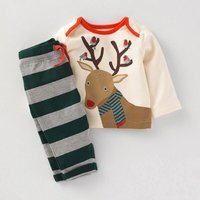 Stylish Reindeer Print Long-sleeve Top and Striped Pants Set for Kid