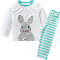 Lovely Rabbit Appliqued Long-sleeve Top and Striped Pants Set for Toddler Girl and Girl