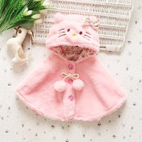 Cute Cat Design Hooded Cloak for Baby Girl