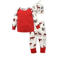 3-piece Cute Deer Patterned Long-sleeve Top, Pants and Hat Set for Baby