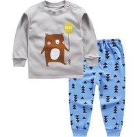 2-piece Cute Bear Print Long-sleeve Top and Pants Set