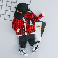 Handsome Plaid Doggy Applique Shirt and Jeans for Baby and Toddler