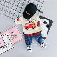 Trendy Faux-two Plaid Letter Print Pullover and Embroidered Jeans
