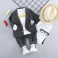 3-piece Gentlemanly Striped Pullover Pants Suits Set in Grey