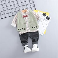 Checkered Shirt Vest and Pants Set