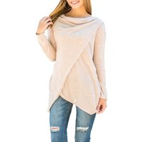 Solid Asymmetric Long Sleeve Tee in Apricot