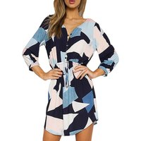 Bright Patterned Belted Dress in Blue for Women