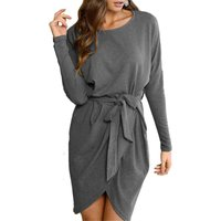Stylish Solid Long Sleeves Dress for Women