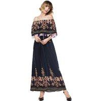 Exotic Floral Off-shoulder Maxi Dress for Women