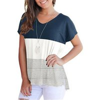 Stylish Color Block Striped Short Sleeve Tee for Womeen