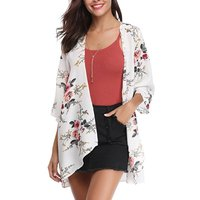 Trendy Lightweight Open Front Floral Cardigan