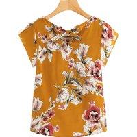 Pretty Flower Print Short-sleeve Top