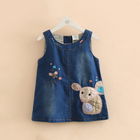 Cool Appliqued Mouse Sleeveless Denim Dress for Baby and Toddler Girl