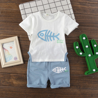 2-piece Fish Bone Print Short Sleeves Tee and Shorts for Baby Boy