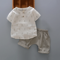 Casual Cedar Print Short-sleeve T-shirt and Pants Set for Baby and Toddler