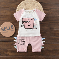 Cute Dinosaur Print Short-sleeve Top and Pants Set for Baby
