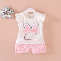 2-piece Rabbit Print Ruffled Short-sleeve Tee and Floral Print Shorts for Toddler Girl