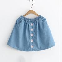 Stylish Heart Embroidered Denim Skirt for Toddler Girls and Girls