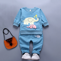 Lovely Elephant Long-sleeve Top and Pants Set for Baby