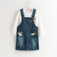 2-piece Great Letter Top and Denim Suspender Dress Set for Toddler Girl