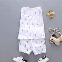 Trendy Leaf Print Tank and Shorts Set for Baby Boy