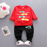 Stylish Car Print Long-sleeve Top and Pants Set for Baby Boy