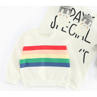 Colorful Stripe Design Long-sleeve Pullover in White for Baby Girl