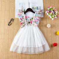 Cute Floral Ruffle-trim Top Tulle Sleeveless Dress for Baby and Toddler Girls