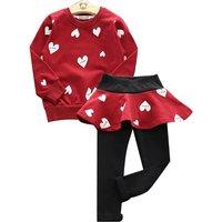 Sweet Heart Print T-shirt and Leggings Set for Toddler Girl/Girl