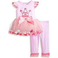 2-piece 'Birthday Girl' Flutter Sleeves Tutu Shirt and Ruffled Pants for Baby Girl/Girl