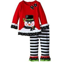 2-piece Cute Appliqued Snowman Long-sleeve Pullover and Striped Pants For Baby Girl/Girl