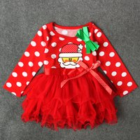 Baby and Toddler Girl's Adorable Christmas Long Sleeve Tutu Dress in Red