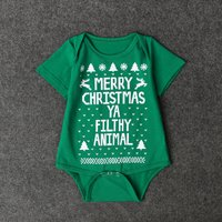 Baby's Solid Christmas Print Short-sleeve Cotton Bodysuit