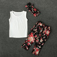 3-piece Cotton Tank Top, Floral Pants and Headband for Baby Girl/Girl